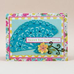 """Say Thank You in style with this creative card that we are a """"fan"""" of. It was made using Top Dog Dies Isabella Fan Die."""