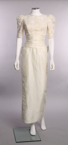 Vintage 1960's Excellent Round Collar Illusion Neckline Straight Skirt Ruched Waist Raw Silk Ivory Lace Pearl Accents Wedding Bridal Gown
