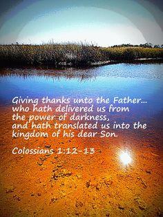 Colossians 1:12-13 Saltwater Marsh, Florida, Scripture, Bible, Christian, Faith, Inspirational, wall art, art, photography, framed print, canvas print, metal print, acrylic print, greeting card