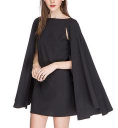 Nadya Little Black Cape Dress