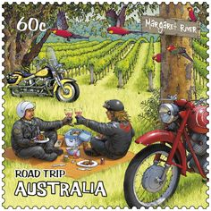 Last in the Road Trip #stamps - this one shows Margaret River, known not only for its premium wines and gastronomic pleasures but for its barrelling surf.   http://auspo.st/QjRJ3d