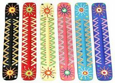 Sun themed colorful hand painted incense holders