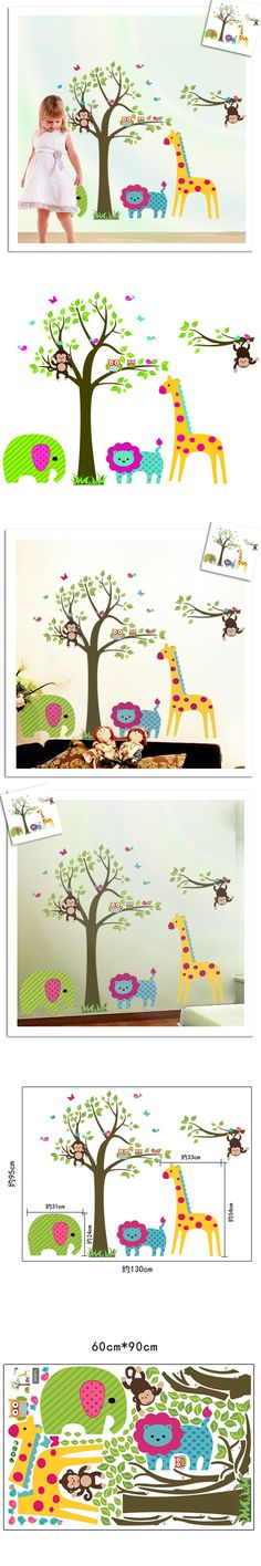 Cute Funning Monkey Owl Butterfly Bird Elephant Deer Lion Tree Animal Plant Wall Stickers Removable PVC Home Decoration Decals $6.5
