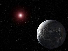 Artist's impression of the extrasolar planet OGLE-2005-BLG-390Lb orbiting its star 20,000 light-years from Earth; this planet was discovered with gravitational microlensing