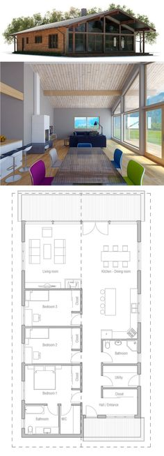 floor plan: 3 bdrms, good for narrow lot, flip Kitchen and LR or could lengthen to enlarge living area, add bsmnt? Would make a nice beach house. Narrow House Plans, Dream House Plans, Modern House Plans, Modern House Design, House Floor Plans, Building Plans, Building A House, Cabin Plans, House Layouts