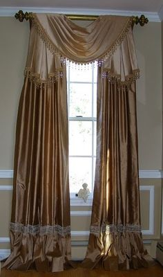 pretty idea for drapes on french doors or windows