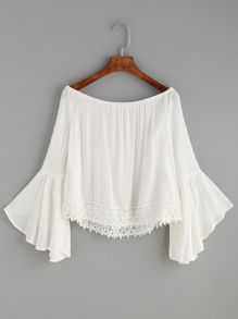 Shop White Lace Trim Bell Sleeve Off The Shoulder Top online. SheIn offers White Lace Trim Bell Sleeve Off The Shoulder Top & more to fit your fashionable needs. Shoulder Cut Tops, White Off Shoulder Top, Bell Sleeve Top Outfit, Textiles Y Moda, White Tops, White Lace, White White, Blouse Designs, Blouses For Women