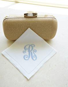 Monogrammed Handkerchief, Linen Handkerchief, Personalized Handkerchief,  Bridal Handkerchief, Wedding Handkerchief - FIND MORE HOME & BRIDAL LINENS BY CLICKING THE PHOTO ABOVE!