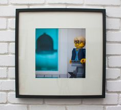 The Shark Tank Print - Square - (Damien Hirst) - LEGO® Art / Photography, by Little Big Art