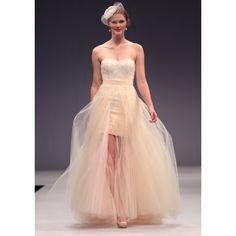 Empire Sweetheart Belt Slim Tulle SweepTrain Wedding Dresses S3488 - Ivory - A-line - Tulle