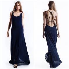 "X ""Rendezvous"" Backless Maxi Dress Strappy backless maxi dress. Oh so gorgeous! Beautiful and flowy! Dress is lined so not at all transparent. Available in navy and ivory. This listing is for the NAVY. Brand new with tags. True to size. PRICE FIRM. NO TRADES. Bare Anthology Dresses Maxi"