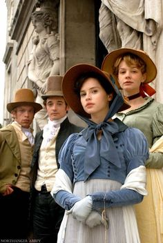 Felicity Jones as Catherine Morland, Carey Mulligan as Isabella Thorpe, Hugh o'Conor as James Morland and William Beck as John Thorpe in Northanger Abbey (2007).
