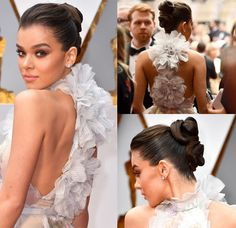 Get the look: Hailee Oscar Double Ballerina Buns - Red Carpet Fashion Awards 15 Red carpet wins cover star Hailee Steinfeld // 2013 Met Gala // www Red Carpet wins from May for Bun Hairstyles, Trendy Hairstyles, Wedding Hairstyles, Sleek Back Hair, Sleek Updo, Ballerina Bun, Celebrity Hair Stylist, Celebrity Style, Red Carpet Hair
