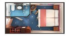Norwegian Dawn cruise ship Inside Stateroom floorplan.
