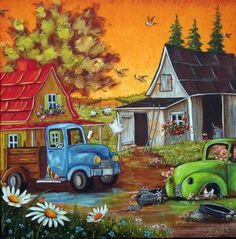Hobbies Unlimited Portland Or Product Primitive Painting, Tole Painting, Painting & Drawing, Cottage Art, Arte Popular, Naive Art, Rock Crafts, Pictures To Paint, Art Boards