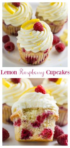 These Lemon Raspberry Cupcakes are light moist and sunshiny sweet Topped with lemon cream cheese frosting lemon slices lemon zest and fresh raspberries they re the perfect Summer dessert A must try for lemon lovers Lemon Raspberry Cupcakes, Raspberry Desserts, Lemon Desserts, Köstliche Desserts, Delicious Desserts, Dessert Recipes, Dessert Healthy, Light Cupcake Recipe, Raspberry Cupcake Recipes