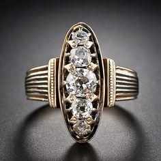 Victorian Black Enamel Diamond Ring