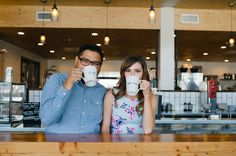 Highlight your shared interests (like your love of coffee!) in your engagement photos | Amy Cloud Photography