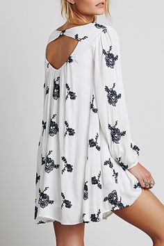 Long Sleeve Embroidered Hollow Dress