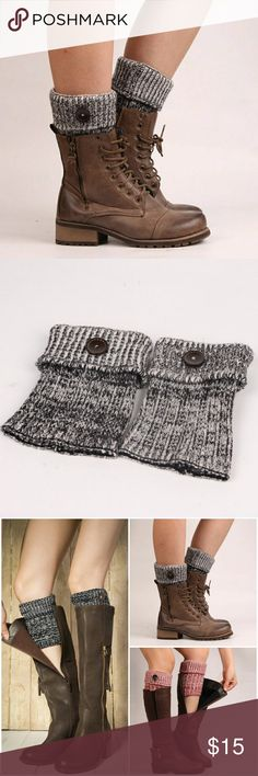2 Tone Boot Cuffs- Black Super cute 2 tone boot cuffs with button detail. Comes in Black, Red and Blue  AE4FACMC92217 Accessories Hosiery & Socks