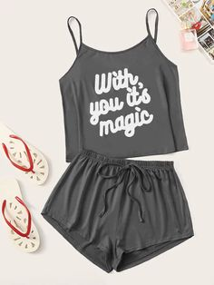 To find out about the Letter Print Cami PJ Set at SHEIN, part of our latest Pajama Sets ready to shop online today! Cute Lazy Outfits, Casual Skirt Outfits, Crop Top Outfits, Summer Outfits, Cute Pajama Sets, Cute Pajamas, Pj Sets, Girls Fashion Clothes, Teen Fashion Outfits