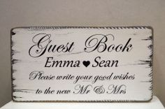 shabby and chic personalised wedding Guest Book sign vintage