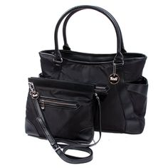 Large Tote with Attaching Handbag for Travel Work and Moms in Black ** You can get more details by clicking on the image. (This is an Amazon Affiliate link and I receive a commission for the sales)