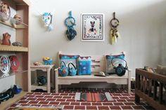 Turquoise Display And Sofa