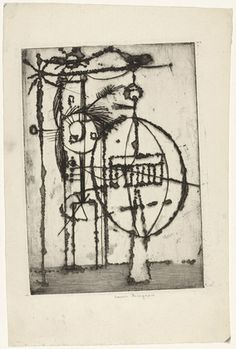 Louise Bourgeois. Mappemonde (Globe), state III. (c. 1948)  Etching, engraving and drypoint