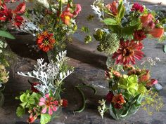 August 2nd Warner wedding head table jam jars with snaps, zinnias, statice, celosia, dill, coriander, sage, bells of Ireland, orlaya, bupleurum, dusty miller, gomphrena, strawflower, nigella pods, and some beans.
