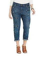 Plus Paint-Splattered Boyfriend Jeans