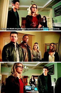 """""""I know stuff!"""" - Felicity, Oliver, Barry, Caitlin, Laurel, Thea and Diggle #Arrow"""