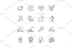 Insomnia problems icons and sleeping trouble vector signs. Human Icons
