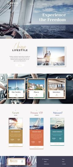 Yacht website, flat design,  web design inspiration, flat design ideas, web design trend