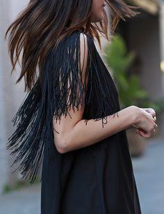 Black Fringe Dress - Tassel LBD Dress - $66