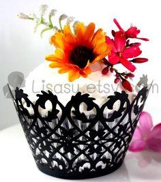 20 50 White Black Filigree Mini Laser Lace Wedding Cupcake Wrapper Cake Deco | eBay
