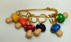 Stitch Markers MUSHROOMS  for Knit or Crochet set of by fcwhimsey, $12.99