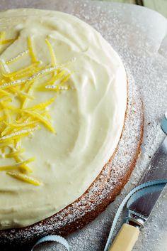 Pistachio & Lemon Cake with White Chocolate Sour Cream Icing