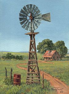 The Rusty Barrel Painting by Randy Follis - The Rusty Barrel Fine Art Prints and Posters for Sale Windmill Art, Farm Windmill, Silhouette Painting, Pictures To Paint, Painting Pictures, Farm Yard, Sale Poster, Painting On Wood, Knife Painting