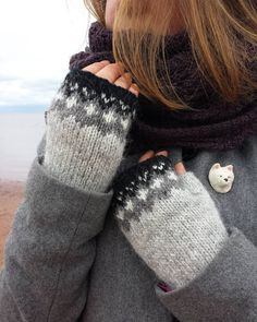 Icelandic Fingerless Mittens by the sea