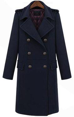 Abrigo largo solapa con muesca doble botonadura-Marino EUR€75.35