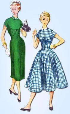 1950s Vintage Simplicity Sewing Pattern 4630 Uncut Misses Empire Dress Sz 14 32B
