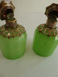 1830's Pair of Green Opaline Glass Perfume Bottles Brass Mounts and Paris Views