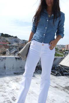 White pants, denim top
