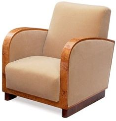 Art Deco Tub Chair with Wood Inlay