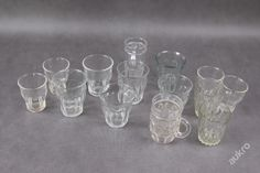 Sada různých starších skleniček, 0,2 L