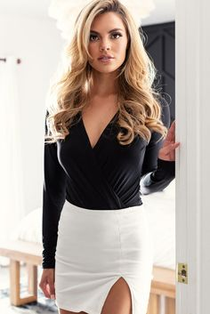 Cross My Heart Black Bodysuit by Priceless. Gorgeous women's v-neck bodysuit! Cross-cross detail in the front makes for a flattering neck-line, and the long sleeve aspect makes it perfect for Look Fashion, Skirt Fashion, Fashion Outfits, Womens Fashion, Ladies Fashion, Sexy Skirt, Dress Skirt, Black Lace Romper, Split Skirt