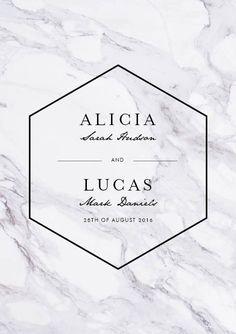 Marble minimalism a5 invitation vertical in black - Wedding Invitations