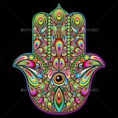 Hamsa Hand Psychedelic Art - Abstract Conceptual