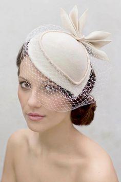 Birdcage Veil Tail Hat Felt Vintage Style Wedding Perch With Designer Leaf Detail Sara